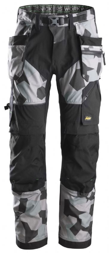 Snickers FlexiWork 6902 Work Trousers with Holster Pockets (Grey Camo/Black)
